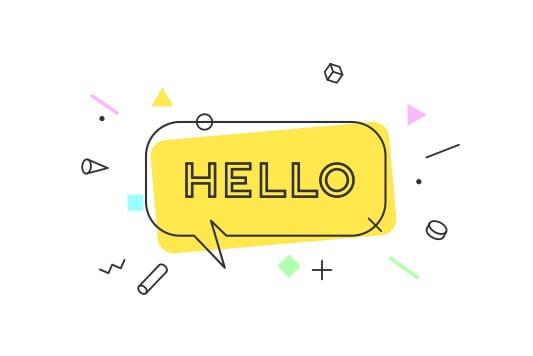 Hello on speech bubble on yellow background