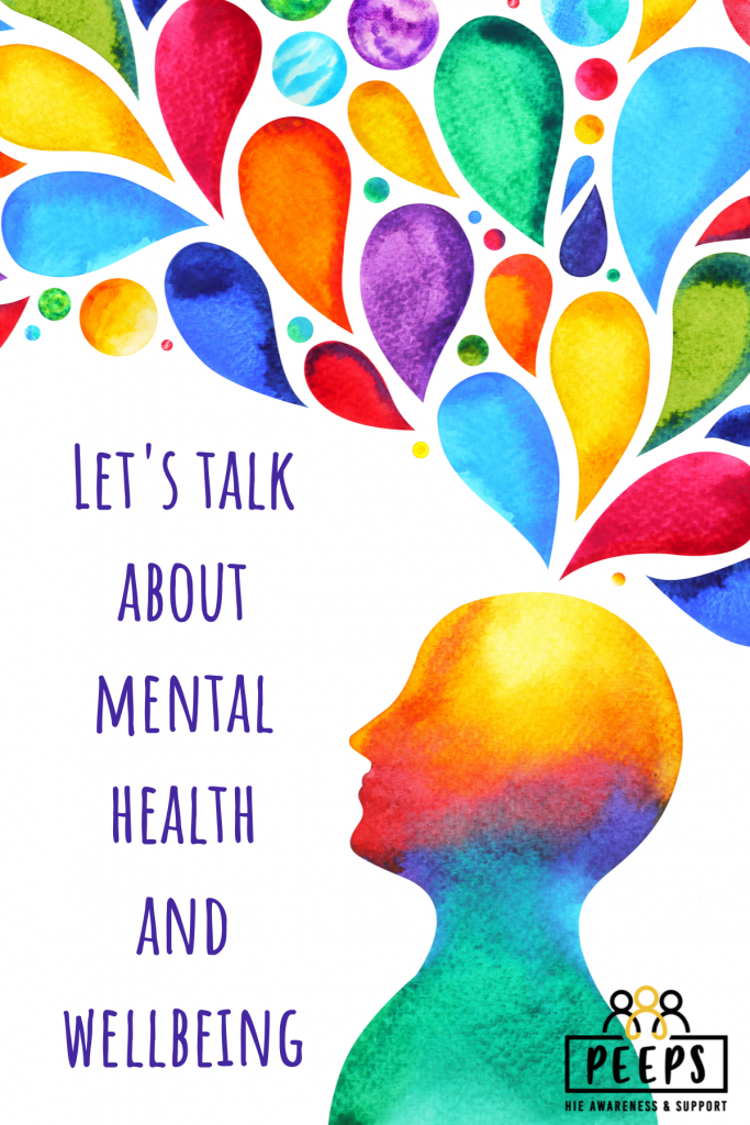 "Colourful silhouette of a person's head with text saying ""Let's talk about mental health and wellbeing"""