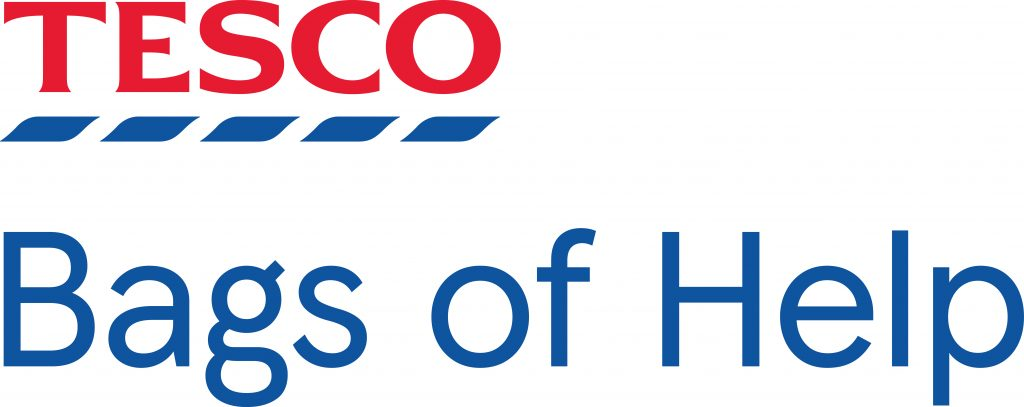 "Tesco logo top left corner with text underneath saying ""bags of help"""