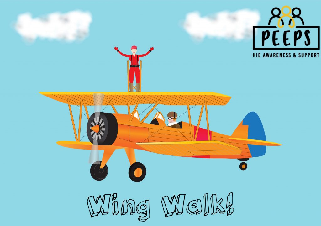 Person in red jumpsuit on top of yellow aeroplane wing walking