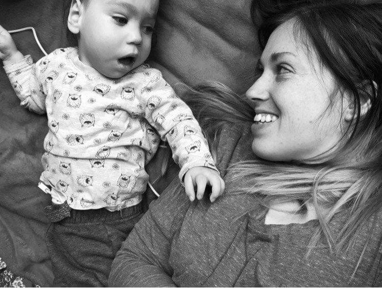 Baby and Mum black and white photo